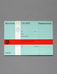 Ticket pass for Youth Camp for the 1972 munich olympics, designed by Otl Aicher and his team