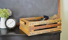 Make a crate organizer using yardsticks. Along with other cute yard stick ideas