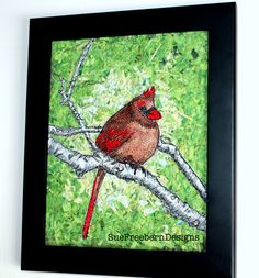 Female Cardinal thread painted and put on confetti background. Made by Sue Freebern of Sue Freebern Designs ETSY.