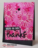 Card by Vicki featuring Bloom Sketches, Daisy Dance Stencil, Crazy Double Running Stitch Rectangle dies, Thanks word die