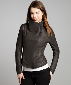 Elie Tahari tusk leather 'Andreas' asymmetrical zip leather jacket | BLUEFLY up to 70% off designer brands