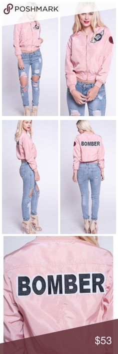 Pink Bomber ✨COMING SOON✨ Like to be notified once in stock. Stylish bomber jacket with front zipper, pockets. 100%POLYESTER. Same day/ next day shipping ⚡️No trades. Jackets & Coats
