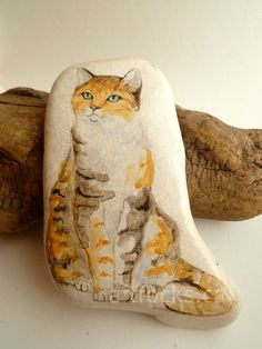 calico cat inspired stone by ArtRocks by Karen, via Flickr