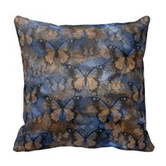 Shop Blue Brown Butterflies Throw Pillow created by MannzPillows. Butterfly Pillow, Green Butterfly, Red And Teal, Blue Brown, Custom Pillows, Decorative Throw Pillows, Living Room Pillows, Decorating Your Home, Home Accessories