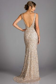 Scala - 48883 Sequined Plunging V-neck Sheath Dress With Train Plus Size Prom Dresses, Pageant Dresses, Homecoming Dresses, Gold Prom Dresses, Champagne Gown, Champagne Bridesmaid Dresses, Beautiful Dresses, Nice Dresses, Formal Dresses