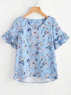 SheIn offers Layered Ruffle Sleeve Stepped Hem Botanical Top & more to fit your fashionable needs. Blouse Styles, Blouse Designs, Diy Clothes, Clothes For Women, Short Tops, Ruffle Sleeve, Cute Tops, Fashion Outfits, Womens Fashion