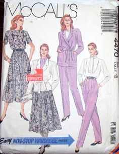 Easy Vintage 1980s Non Stop Wardrobe Sewing Pattern McCalls 4470 Wrap Jacket, Blouse Skirt Ascot Pants Women Miss Size 18 Bust 38 Uncut FF by RosesPatternsEtc on Etsy