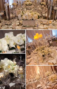 Four designs, equally stunning, dressed the dining tables.    Each unique design utilized the same stylish elements: feathers and swarovski crystals