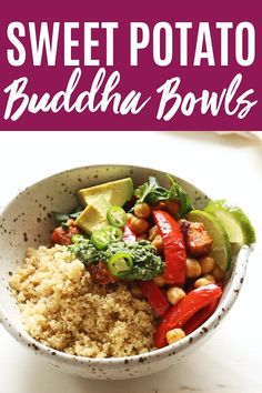 Sweet Potato Buddha Bowls This Buddha Bowl is topped with roasted sweet potatoes, peppers and chickpeas and drizzled with a tangy green mojo sauce. It's a healthy (vegetarian + vegan) dinner or lunch. Vegan Crockpot Recipes, Raw Food Recipes, Healthy Recipes, Keto Recipes, Freezer Recipes, Freezer Cooking, Potato Recipes, Drink Recipes, Cooking Tips
