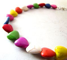 Rainbow Heart Necklace Dyed Turquoise Gemstone by BellinaCreations, $25.00