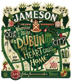 Jameson Hello Dublin Limited Edition Bottle on Packaging of the World - Creative Package Design Gallery Typography Letters, Graphic Design Typography, Hand Lettering, Creative Lettering, Label Design, Branding Design, Package Design, Design Packaging, Identity Branding