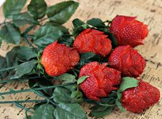 How to Make Strawberry Roses. Wouldn't this be cute in a bento box.