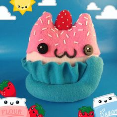 Kawaii Strawberry Cupcake Cat Plush, Cute Cat Plushie, Strawberry Cupcake Food Plushie, Cute Gift for Cat and Food Lovers Kawaii Plush, Kawaii Cat, Baby Girl Items, Cats And Cucumbers, Pet Allergies, Kawaii Crochet, Cat Lover Gifts, Girl Gifts, Kawaii Gifts