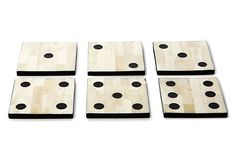 One Kings Lane - The Sophisticated Study - S/6 Dice Bone Coasters