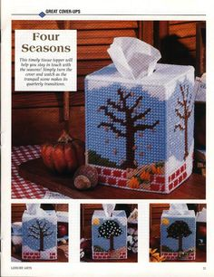 FOUR SEASONS TISSUE COVER by ELEANOR HAWKINS 1/3 Plastic Canvas Books, Plastic Canvas Tissue Boxes, Plastic Canvas Crafts, Plastic Canvas Patterns, Pattern Books, Pattern Art, Christmas Projects, Christmas Crafts, Santa Express