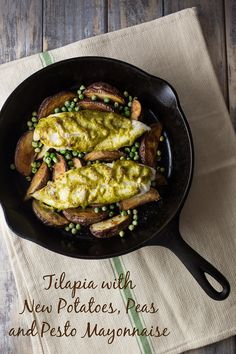 Selecting The Suitable Cheeses To Go Together With Your Oregon Wine Tilapia With New Potatoes, Peas And Pesto Mayonnaise - An Easy One Pan Meal Whole30 Fish Recipes, Easy Fish Recipes, Tilapia Recipes, Seafood Recipes, Dinner Recipes, Cooking Recipes, Cooking Tofu, Cooking Lamb, Cooking Bacon
