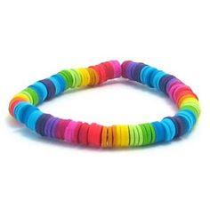 rainbow heishi beads elasticated Bracelet