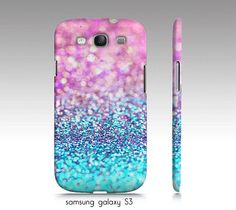 "samsung galaxy S3, iphone4, 4s,5 case, ""pastel glitter"" turquoise, aqua, pink, girly, glitter, sparkle"