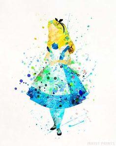 Alice, Alice in Wonderland Watercolor Disney Print. Prices from $9.95. Available at InkistPrints.com - #disney #watercolor #babyroom #homedecor #nurseryroom #AliceinWonderland