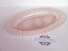Anchor Hocking Miss America depression glass sandwich serving plate, gorgeous oval shape, c1930, measures 27 cm wide x 17 cm deep, excellent condition.