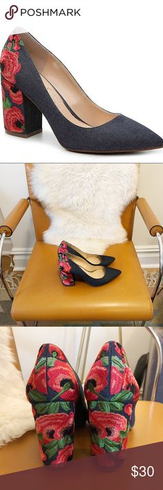 "Jessica Simpson Lannah Pumps Excellent condition! Hate to say goodbye to these but I'm making room in my closet for new shoes. Denim upper with floral embroidered details. 3.25"" covered block heel. Jessica Simpson Shoes Heels"