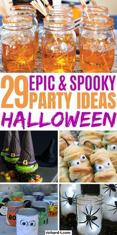 29 Cheap & easy DIY Halloween party ideas that'll scare your guests! These Halloween party ideas are simple, cheap and look really amazing! Cheap Halloween, Halloween Food For Party, Halloween Birthday, Family Halloween, Diy Halloween Decorations, Holidays Halloween, Spooky Halloween, Halloween Treats, Halloween With Kids