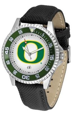 """Oregon Ducks Suntime Competitor Leather Mens NCAA Watch by SunTime. $74.55. Oregon Ducks Suntime Competitor Leather Mens NCAA Watch  Your Favorite Team's Logo Boldly Displayed On The Dial  Solid Stainless Steel 1.75"""" Case  Nylon/Leather Strap With Buckle Clasp Measures 9.5"""" Including Watch  Shock Resistant  Unidirectional Rotating Elapsed Time Bezel  Luminous Hands  Date Display at 6 o'clock  Water Resistant to 30 Meters/100 ft.  Scratch Resistant Mineral Crystal  Prec..."""