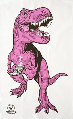 Tea Rex (pink) tea towel - Designer tea towels from ToDryFor.com