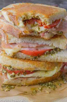 Parmesan Crusted Grilled Cheese with Prosciutto, Pesto and Tomatoes