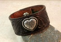 Leather Cuff Bracelet Hand Tooled with Silver by JayelleJewelry, $24.00