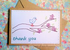 Hand Embroidered Card Bird on a Branch by sleepingfoxstitchery, $5.00