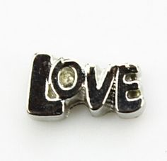 """LOVE Floating Locket Charm at www.showyourcharm.com One word says it all! Include this charm when putting together a gift locket for a bride, a Valentine's jewelry collection or maybe a cool 70""""s memory set."""