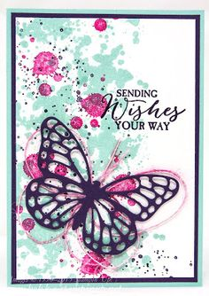 Stampin' Up! Gorgeous Grunge Butterfly Wishes Card and a tip about colouring threads - check it out here Cute Cards, Diy Cards, Butterfly Cards, Big Butterfly, Stamping Up Cards, Card Making Inspiration, Creative Cards, Greeting Cards Handmade, Scrapbook Cards
