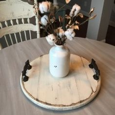 Handcrafted Lazy Susan Tray. Shop here! Get the farmhouse look.