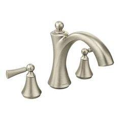 Moen Wynford Brushed Nickel 2 Handle Fixed Deck Mount Bathtub Faucet T