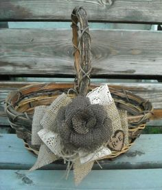 Rustic Flower Girl Basket - Burlap and Lace Wedding - Personalized Flower Girl Basket