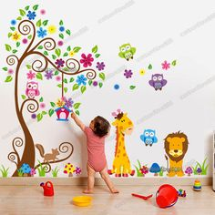 Giant Scroll Flower Tree Owls Wall Stickers Art Decal Paper Animal Nursery Decor for sale online Childrens Wall Decals, Nursery Wall Stickers, Flower Wall Stickers, Tree Decal Nursery, Giraffe Nursery, Animal Nursery, Baby Room Decor, Nursery Decor, Baby Deco