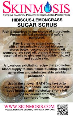 Indulge yourself with the new SKINMOSIS Sugar Scrub. Invigorate skin and tantalize your senses!!