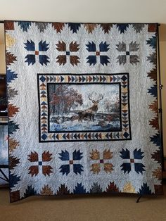 Flying geese Bear Paw and Delectable Mountain Border 2019 FAFD Raffle Quilt- Call of the Wild Deer Panel Bear Paw Quilt, Fox Quilt, Southwestern Quilts, Wildlife Quilts, Fabric Panel Quilts, Wild Deer, Quilted Throw Blanket, Quilt Border, Quilted Wall Hangings