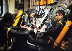 Three of Cousteau's Conshelf III divers checking in their equipment after a daily work dive at close to 400 feet. Jacques Cousteau, Scuba Diver Costume, Undersea World, Scuba Diving Gear, Sea Dweller, Underwater World, Ocean Life, Under The Sea, Habitats