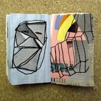 Craig Aktinson sketchbooks with grey germoline pink and lemon yellow with black - brilliant!