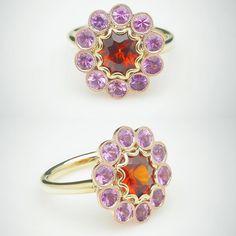Spessertite Sapphire Ring by David Klass Jewelry Halo Rings, Heart Ring, Sapphire, David, Bling, Jewelry, Jewel, Jewlery, Jewerly
