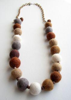 Items similar to Barn Owl (Beaded Felt Necklace Adjustable) on Etsy Felt Crafts Diy, Felted Wool Crafts, Felt Diy, Fabric Beads, Fabric Jewelry, Felt Necklace, Baubles And Beads, Felt Ball, Handmade Jewelry