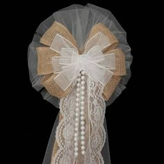 Burlap Lace Pearls White Rustic Wedding Bows