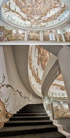 Untamed Flora and Fauna Rendered with Mud in New Multi-Level Mural by Yusuke Asai Colossal Art, Flora And Fauna, Installation Art, Interior Ideas, Mud, Cities, Traveling, Stairs, Culture