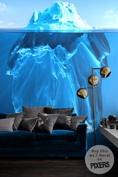 #Iceberg on #WALL - amazing #blue #wall mural - from PIXERS