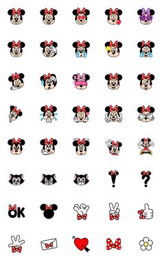 Minnie Mouse is wearing her trademark ribbon in this adorable new emoji set. Combine them with the Mickey Mouse Emoji set for the perfect pairing. Mickey Mouse Wallpaper Iphone, Cute Disney Wallpaper, Wallpaper Iphone Cute, Cute Cartoon Wallpapers, Mickey Mouse Stickers, Mickey Minnie Mouse, Cute Disney Drawings, Mini Drawings, Stickers Kawaii