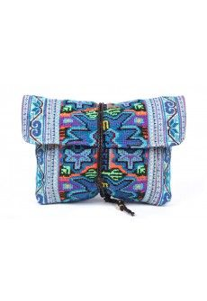 Elizabeth Fold Clutch - Traditional hand embroidered tribe costume used to create this fold over clutch with zipper and double snap closure.