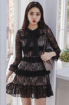 Semi Lined Peplum Detail Dress CHLO.D.MANON   #black #lace #feminine #dress #koreanfashion #kstyle #kfashion #springtrend #seoul #datelook