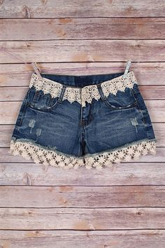 From a night out to a lazy afternoon, Chocolate Shoe Boutique has the perfect women's fashion denim & fabric jeans & shorts. Diy Shorts, Diy Jeans, Jeans Refashion, Modest Shorts, Long Shorts, Summer Shorts, Denim And Lace, Lace Denim Shorts, Jean Shorts
